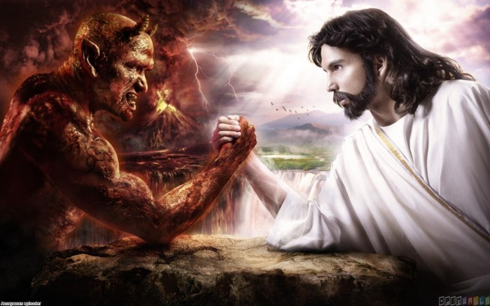 This image of Jesus arm wrestling Satan is not only inconsistent with much of the biblical witness, it elevates evil as an equal to God. Image borrowed from http://www.youwall.com/index.php?ver=MzI5Nw==
