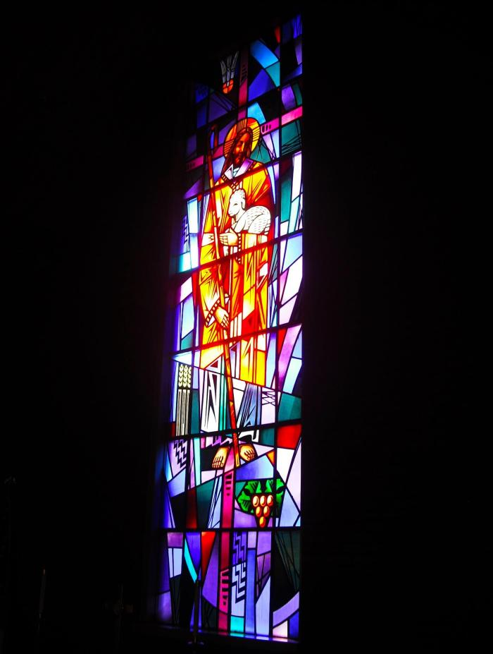 The stained glass window at Condon (Oregon) United Church of Christ. Photo by Tim Graves