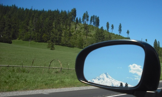Mt. Hood follows me as I leave the mountaintop. Photo by Tim Graves