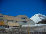 Though melting has begun, much snow remains at the Timberline Lodge in May. Photo by Tim Graves.