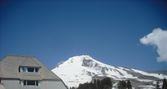 Mt. Hood's peak behind Timberline Lodge. May 2013. Photo by Tim Graves.