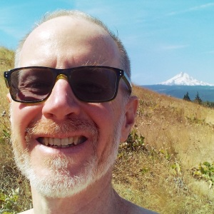 Nearing the peak of McCall Point, Mt. Hood and I pose for a selfie. Photo by Tim Graves