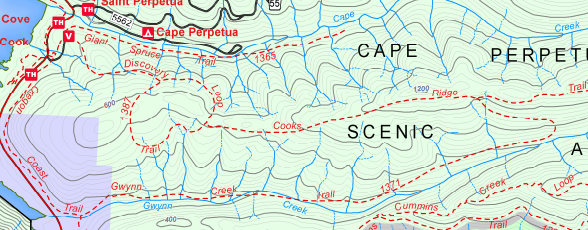 Screen shot of trail map.