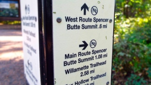 The directional sign at the Spencer Butte trailhead. Photo by Tim Graves