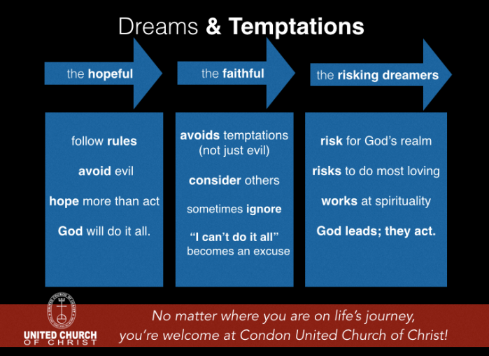 "This slide was a part of the sermon, ""Dreams & Temptations"" preached on January 18, 2015 at the Condon United Church of Christ."